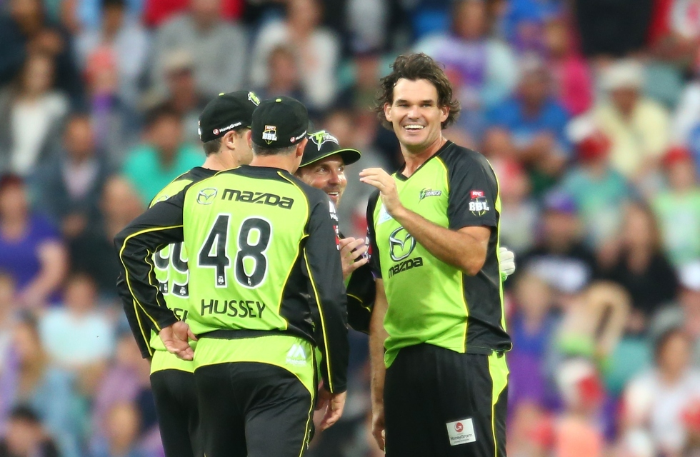 HOBART, AUSTRALIA - JANUARY 01:  Clint McKay of the Thunder celebrates after dismissing Kumar Sangakkara of the Hurricanes during the Big Bash League match between the Hobart Hurricanes and the Sydney Thunder at Blundstone Arena on January 1, 2016 in Hobart, Australia.  (Photo by Scott Barbour/Getty Images)