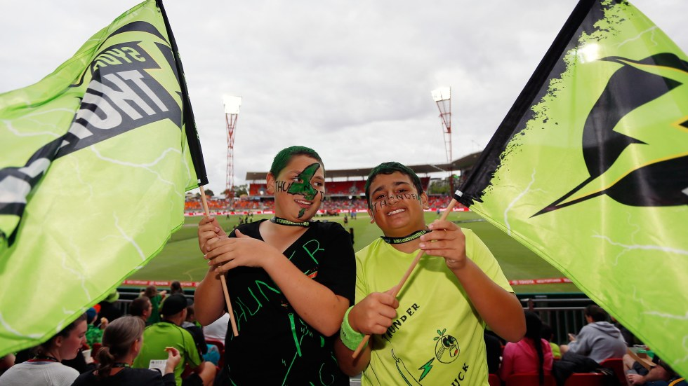 SYDNEY, AUSTRALIA - DECEMBER 28:  Fans are seen during the Big Bash League match between the Sydney Thunder and Adelaide Strikers at Spotless Stadium on December 28, 2015 in Sydney, Australia.  (Photo by Zak Kaczmarek - CA/Cricket Australia/Getty Images)